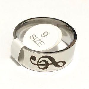 Men's / Women's Music Note Ring, Size 9